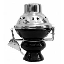 Black hookah bowl with metal wind cover